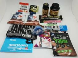 14 Assorted Sample Packs Protein Whey Powder Bars Pills Pre-