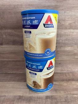 2x 10.2oz Atkins Milk Chocolate & Vanilla Protein Powder  **