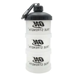 Bpa free supplement protein powder container with keychain