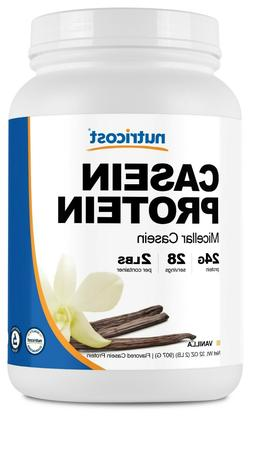 Nutricost Casein Protein Powder 2lb Vanilla - 100% Micellar