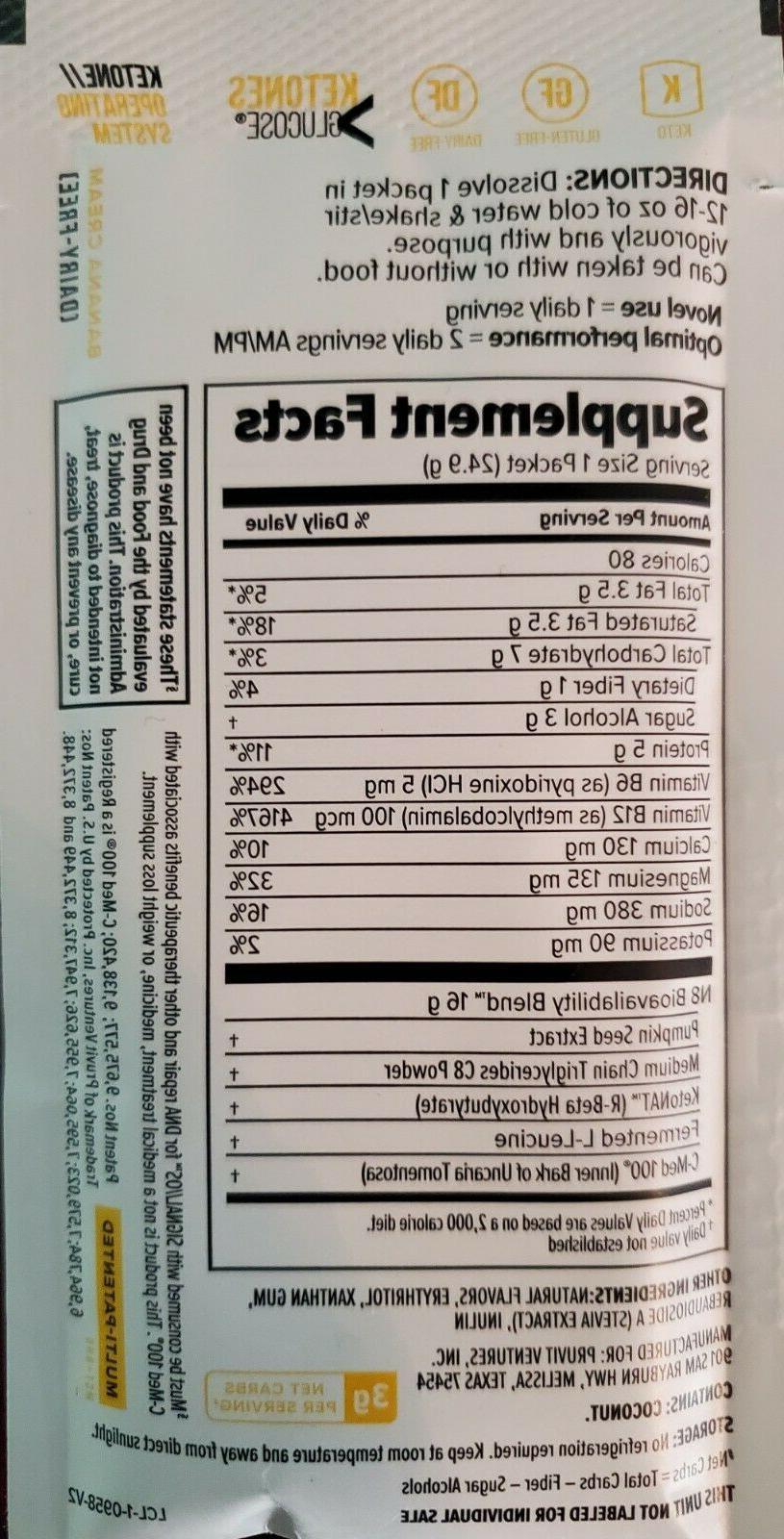 Pruvit Banana Cream PRO, Ketones, Protein MCT, 5 Pack Dairy Free,
