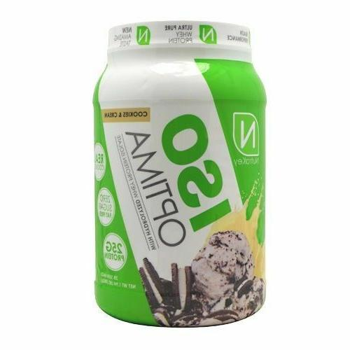 iso optima whey protein powder 2lb container
