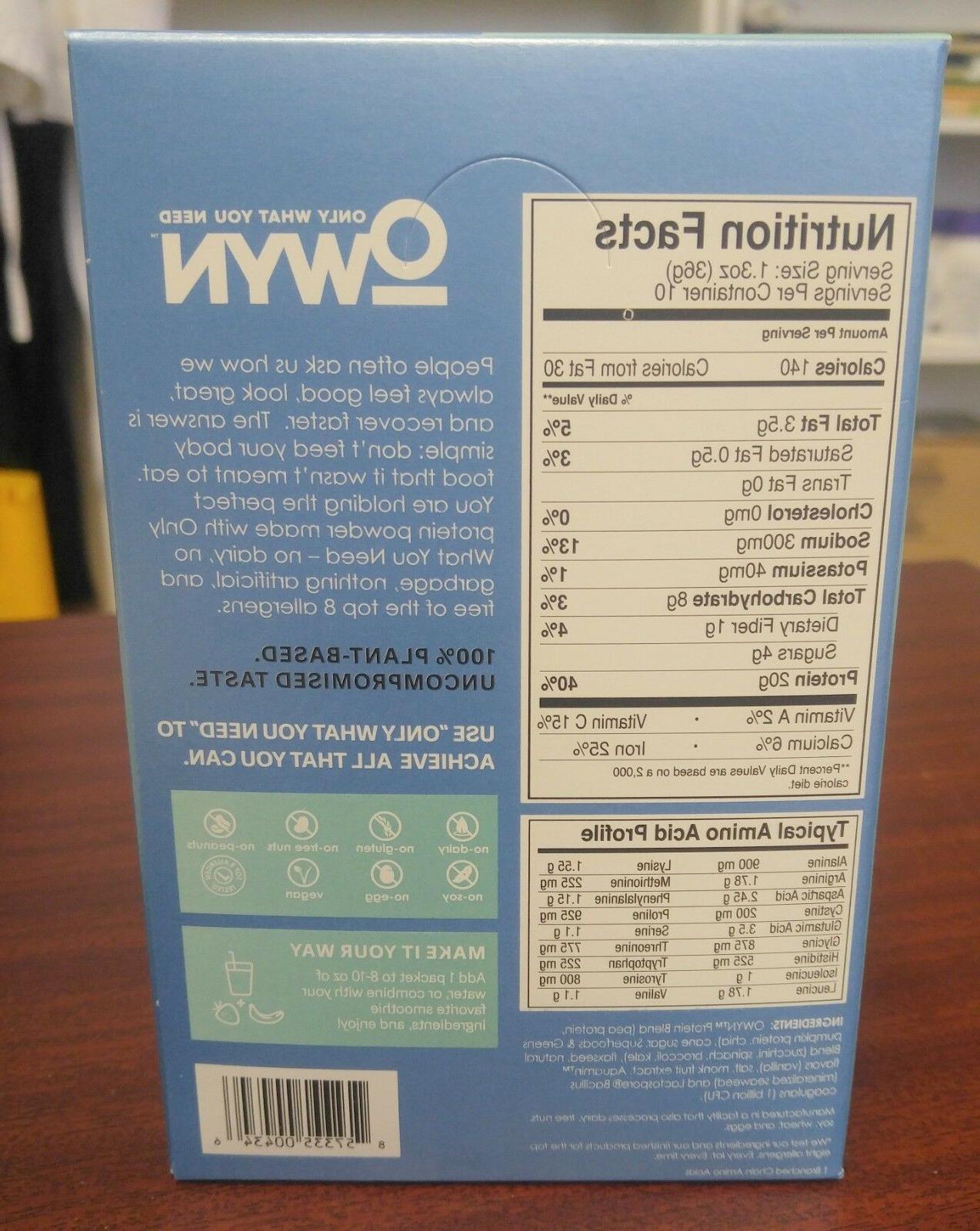OWYN Vegan Plant-Based Powder 20g Packets Box of 10 Smooth (1.5l