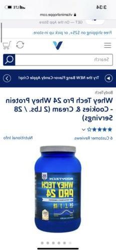 Bodytech Whey Tech Pro 24 Protein 32oz.. 2lb Bottle Brand Ne