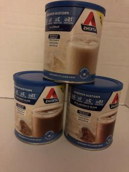 Lot Of 3 Atkins Protein Powder Cans Vanilla Chocolate 9.88oz