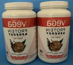 NEW Lot of 2 Vega Vegan Protein Energy Powder Mix w/3g MCT O