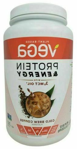 NEW Vega Vegan Protein Energy Powder Mix w/ 3g MCT Oil Cold
