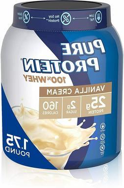 Pure Protein 100% Whey Protein Shake Powder, Vanilla Cream,
